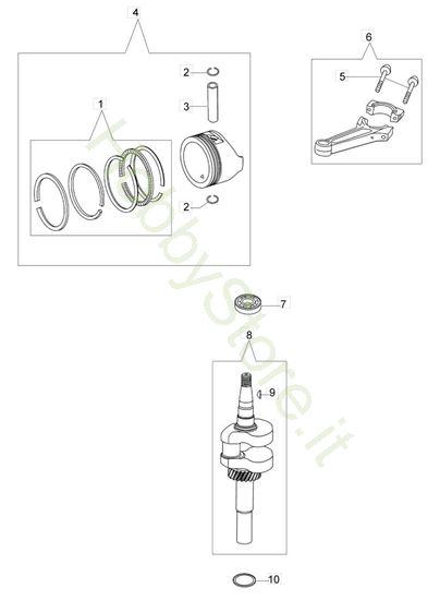 Albero e Pistone  G 44 TK Comfort Plus Trazione