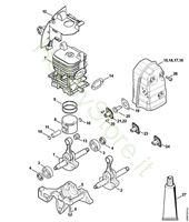 Albero a gomito, cilindro, silenziatore BR 450