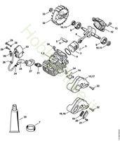 Cilindro con pistone, impianto di accensione  MS 193 T Stihl